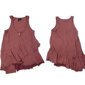 LEFT OF CENTER/sleeveless asymmetrical ruffle tank